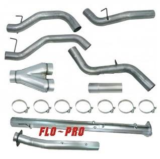 734 - Flo-Pro 4-inch Down Pipe Back Dual Exhaust - Aluminized GM 2007 - 2010