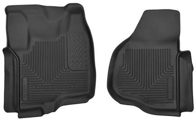 53321 - Husky Floor Mats - Front - Ford 2012-2016 SuperCab/CrewCab w/ Drivers Foot Rest w/o Manual Trans Case Shifter