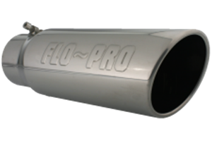 4515FB - Flo-Pro Exhaust Tip 4-inch - 5-inch x 15-inch Rolled Angle Cut - Stainless