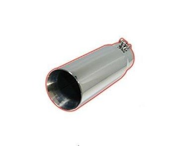"Picture of Flo-Pro Exhaust Tip 4"" - 6"" x 12"" Double Wall Slant - Polished Stainless"