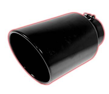 405015RACBX - Flo-Pro Exhaust Tip 4-inch - 5-inch x 15-inch - Rolled Angle Cut - Powder Coated Black