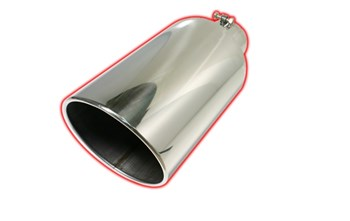 "Picture of Flo-Pro Exhaust Tip 4"" - 6"" x 15"" Rolled Angle Cut - Stainless"