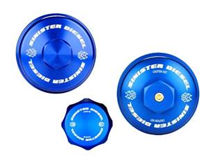 SD-BCK-6.4 - Sinister Diesel's Billet Blue Cap Kit for 2008-2010 Ford Powerstroke 6.4L diesels