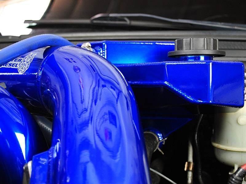SD-DEGAS-6.0 - Sinister Diesel's Coolant Overflow (degas) bottle for 2003-2007 Ford Powerstroke 6.0L diesels - installed