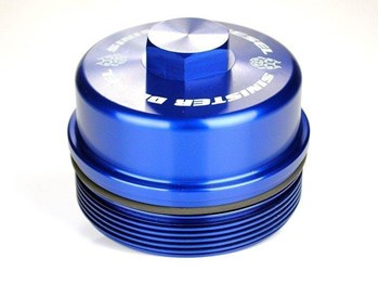 SD-FFC-6.4 - Sinister Diesel's Billet Blue Fuel Filter Cap for 2008-2010 Ford Powerstroke 6.4L diesels