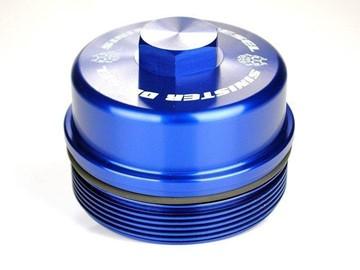 SD-FFC-6.4 - Sinister Diesel's Billet Blue Fuel Filter Cap for 2008-2010 Ford Powerstroke 6.4L diesels