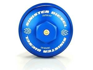 SD-OFC-6.4 - Sinister Diesel's Billet Blue Oil Filter Cap for 2008-2010 Ford Powerstroke 6.4L diesels