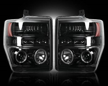 264196BK - Recon Projector Headlights - Smoked - Ford 2008-2010