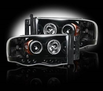 264191BK - Recon Projector Headlights - Smoked - Dodge 2003-2005