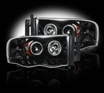 264191BK - Recon Projector Headlights - Smoked - Dodge 2003-2005