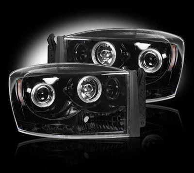 264199BK - Recon Projector Headlights - Smoked - Dodge 2006-2009