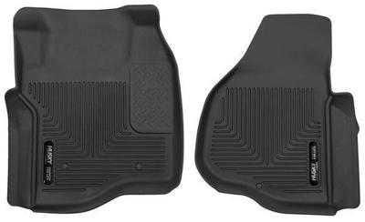 53301 - Husky Floor Mats - Front - Ford 2011-2016 SuperCab/CrewCab w/o Drivers Foot Rest w/o Manual Trans Case Shifter