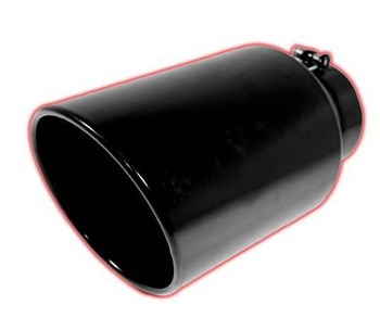 405012RACBK - FloPro's 4-5-inch x 12-inch Rolled Angle Cut Black Powder Coated exhaust tip - fits 4-inch Exhaust systems