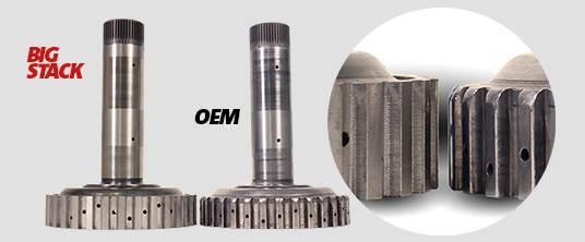1062036 - BD Diesel's BIG STACK Shaft & Drum Kit for 2007-2018 Dodge Cummins - OEM vs BD comparison - OD Shaft