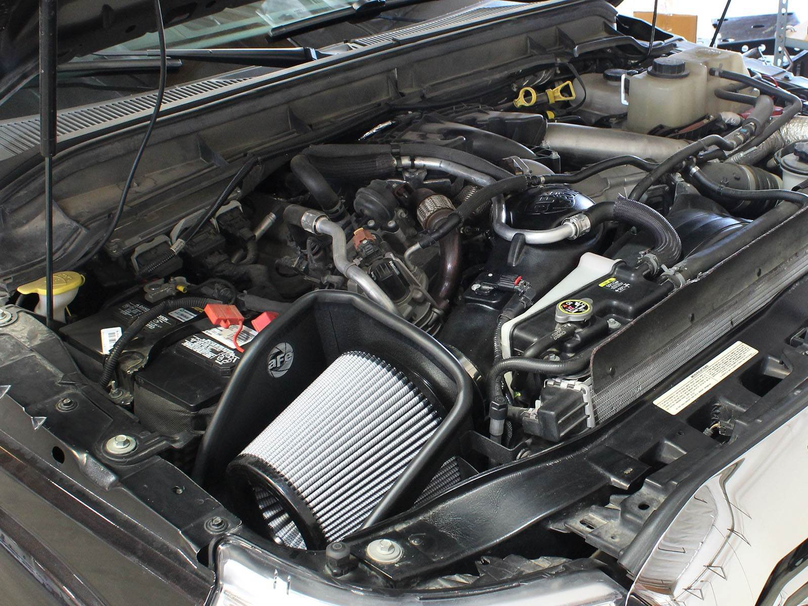 51-11872-1 - aFE Pro Dry S Performance Cold Air Intake System for your 2011-2016 Ford Powerstroke 6.7L Diesel - Installed