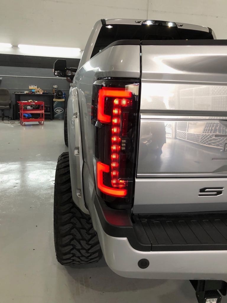 264299LEDRD - Recon OLED Tail Lights with Red Lenses for 2017-2018 Ford Powerstroke 6.7L diesels