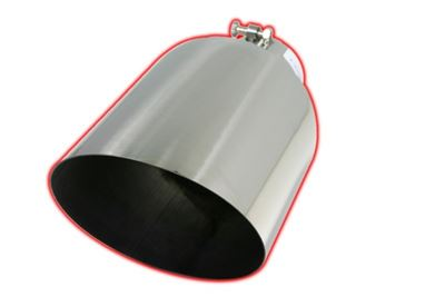 8015ACB - FloPro Exhaust Tip 4-inch - 6-inch x 15-inch - 45┬░ Angle Cut - Stainless - Bolt On