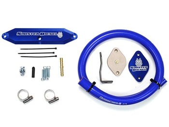 "SD-EGRD-6.7P-NPT - Sinister Diesel's EGR & Cooler Delete Kit for 2011-2014 Ford Powerstroke 6.7L diesels - accepts 1/8"" aftermarket pyro probe"