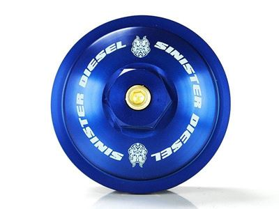"""SD-FFC-6.0 - Sinister Diesel's Billet Blue Fuel Filter Cap for 2003-2007 Ford Powerstroke 6.0L diesels"""