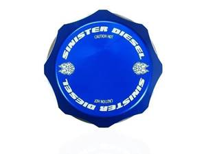 SD-DC-7.3 - Sinister Diesel's Billet Blue DeGas Bottle Coolant Cap for 1994-2003 Ford Powerstroke 7.3L diesels