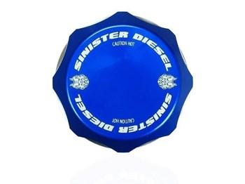 SD-DC-7.3 - Sinister Diesel's Billet Blue DeGas Bottle Coolant Cap for 1994-2003 Ford Powerstroke 7.3L diesels