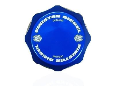 SD-DC-6.7P - Sinister Diesel's Billet Blue DeGas Bottle Coolant Cap for 2011-2016 Ford Powerstroke 6.7L diesels