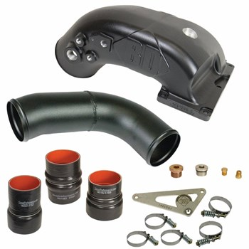 1041561 - BD X-Intake Elbow - Black Powder Coated - for 2010-2012 Dodge Cummins 6.7L diesel trucks