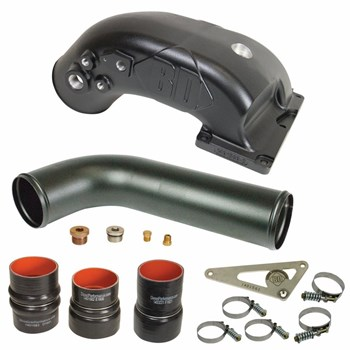 1041560 - BD X-Intake Elbow - Black Powder Coated - for 2007-2009 Dodge Cummins 6.7L diesel trucks