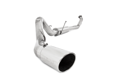 S6126304 - MBRP's 4-inch Turbo Back PRO Series Exhaust System for your 2004.5-2007 Dodge Cummins 5.9L diesel pickup. Made from mirror polished T304 stainless steel (which lasts longer than aluminized exhaust), this kit comes with a polished stainless muffler and exhaust tip.