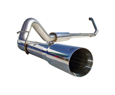 S6200304 - MBRP's 4-inch Turbo Back PRO Series Exhaust System for your 1999-2003 Ford Powerstroke 7.3L F250/F350 diesel pickup. Made from mirror polished T304 stainless steel (which lasts longer than aluminized exhaust), this kit comes with a polished stainless muffler and exhaust tip.