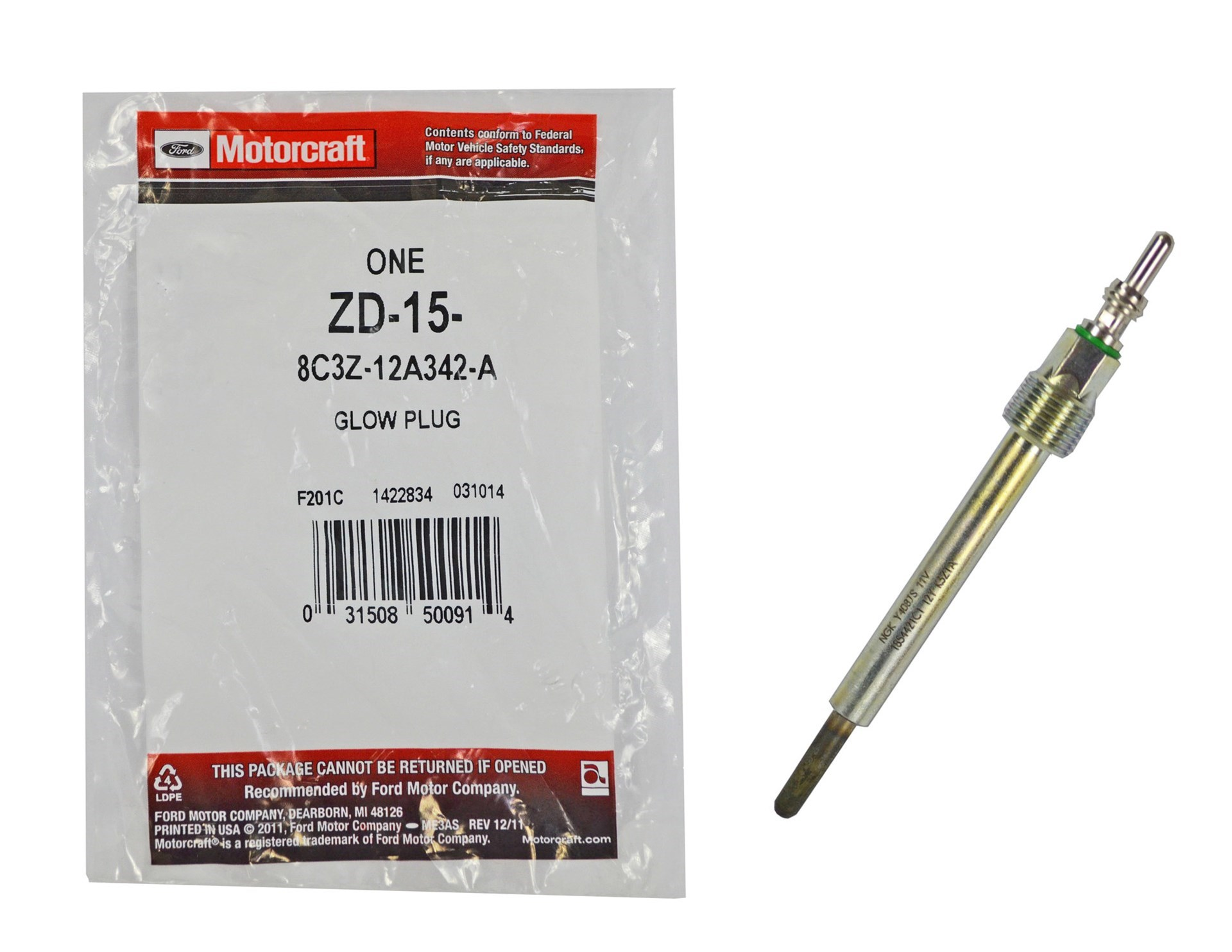 ZD-15 - OEM Motorcraft Glow Plug for 2008-2010 Ford Powerstroke 6.4L Diesel trucks