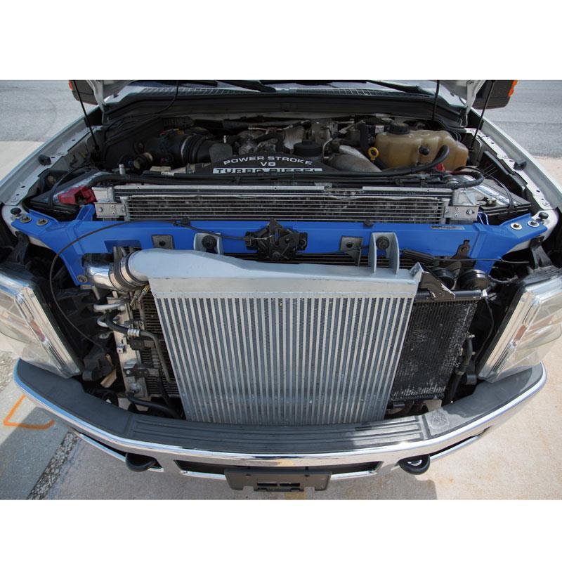 MMUS-F2D-08BL - Mishimoto's Upper Support Bar for 2008-2010 Ford Powerstroke 6.4L F250-F550 trucks - Wrinkle Blue Powder Coat finish