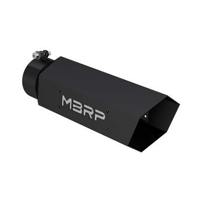 "Picture of MBRP HEX Exhaust Tip - 4"" - 5"" x 16"" Black Coated w SS logo"