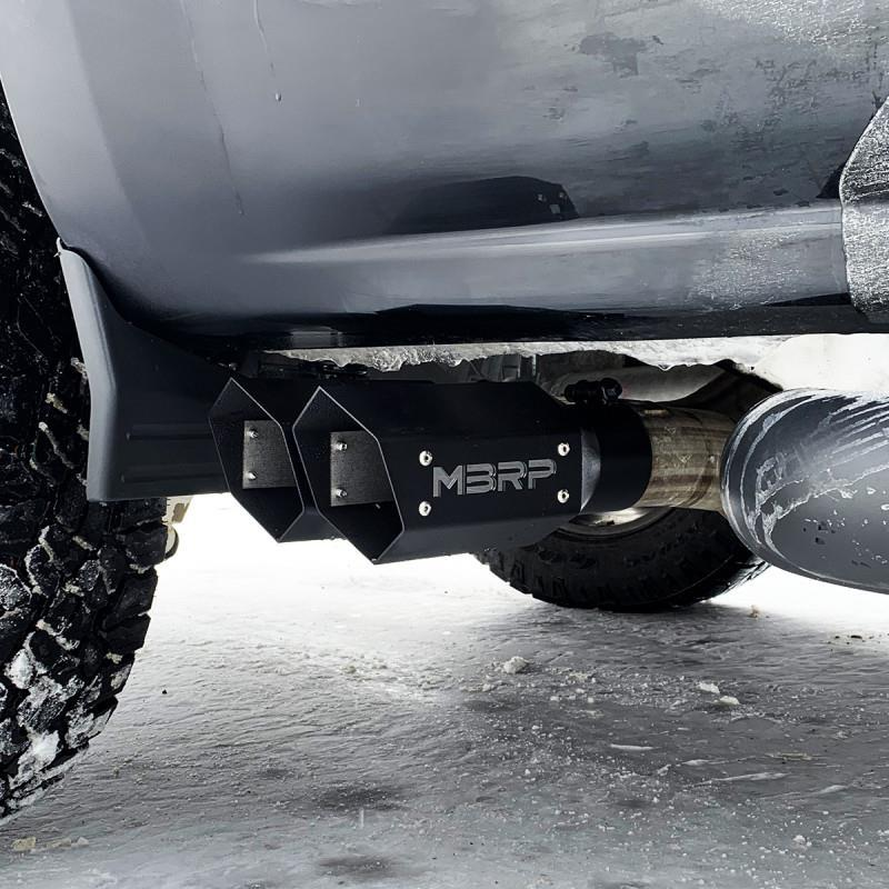 """Picture of MBRP HEX Exhaust Tip - 3"""" - 4"""" x 10"""" Black Coated w/ SS logo"""