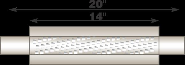 "Picture of Flo-Pro 4"" x 14"" Aluminized Muffler - Fiberglass Packed Style"