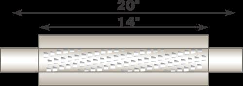 "Image de Flo-Pro 4"" x 14"" Aluminized Muffler - Fiberglass Packed Style"