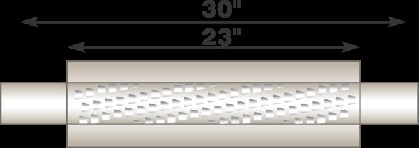 "Picture of Flo-Pro 4"" x 23"" Aluminized Muffler - Fiberglass Packed Style"