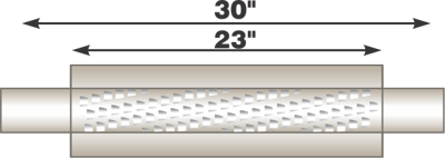 "Image de Flo-Pro 4"" x 23"" Aluminized Muffler - Fiberglass Packed Style"