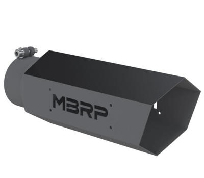 """Picture of MBRP HEX Exhaust Tip - 4"""" - 5"""" x 16"""" Black Coated wo SS logo"""